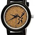 Hecha a mano de madera de Alemania Designer ciervo Unisex Mujer de reloj de hombre reloj Certificado de madera natural Reloj Pulsera de piel de